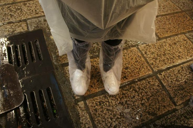 Pouring rain when we visited 'Jiufen' :(  What we wore to keep our feet dry :D