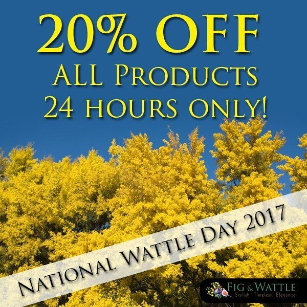 Did you know it's Wattle Day today? To celebrate this fabulous day, Fig & WATTLE (!!!) are super excited to offer you 20% OFF all orders for the next 24 hours. Just use code: WATTLE at the checkout. OMG we're so excited!!!  #figandwattle #20%OFF #wattleday #goldenwattle #jewellery #specialoffer #dontmissout #sunglasses #bags #watches #hats #mensfashion #womensfashion #excited #instaphoto #instamadness #instapic #losingmymind #hugedeal #fashion #fashionaccessories #sexy #hot #madness #spring…