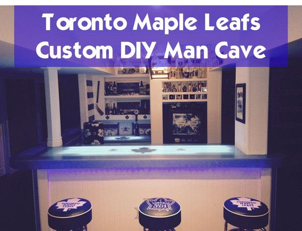 Custom DIY Man Cave: Toronto Maple Leafs - Before and After photos including interview with the owner of this cave.