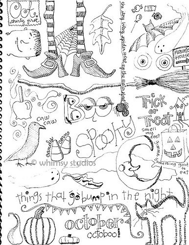 Halloween doodles by whimsy studios, via Flickr...maybe can be copied over onto an embroidery hoop?
