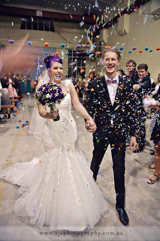 Kingston Fitters Workshop, Canberra Art Precinct. Wedding ceremony celebrations with confetti. The new Mr & Mrs.
