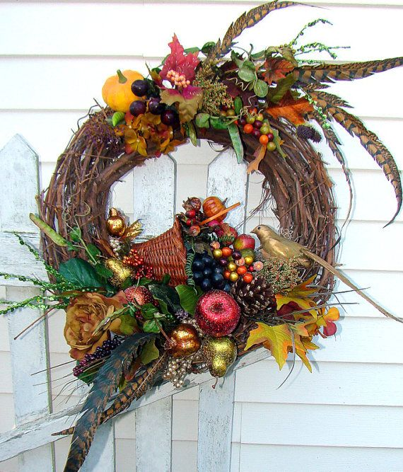 AFTER Thanksgiving SALE X L Fall Shabby Chic Floral Wreath, Cornucopia, Glittered Fruits and Berries, Feathers, Pumpkins and Gourds