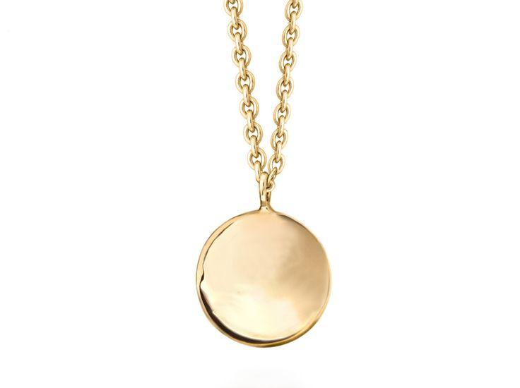 Missoma 18ct gold vermeil round engravable disc necklaces