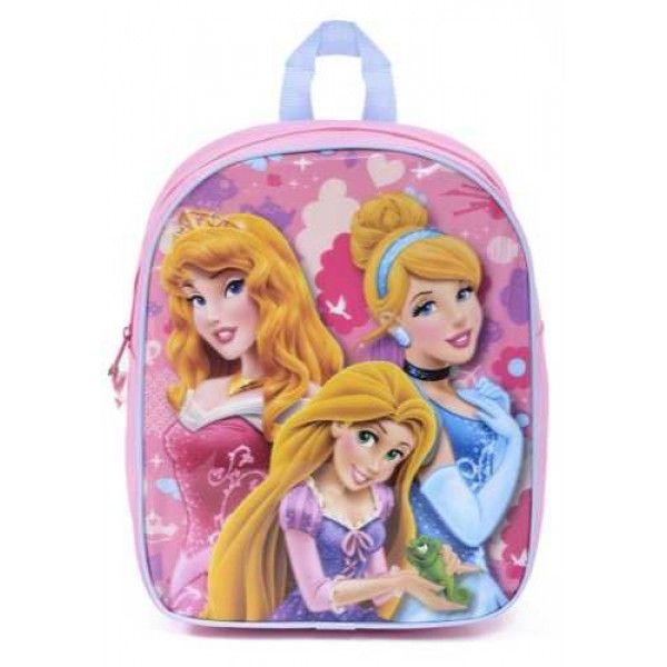 Askepot, Tornerose og Rapunzel rygsæk taske skoletaske til piger i lyserød, fra Disney junior