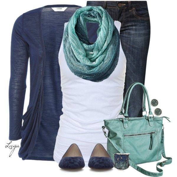 Love the colors, sweater, scarf, earrings, bracelet, t, bag and jeans.