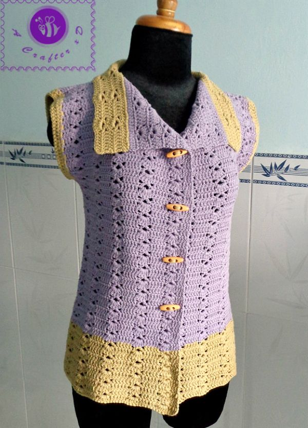 crochet sleeveless vest free pattern - scroll down for a link to larger sizes