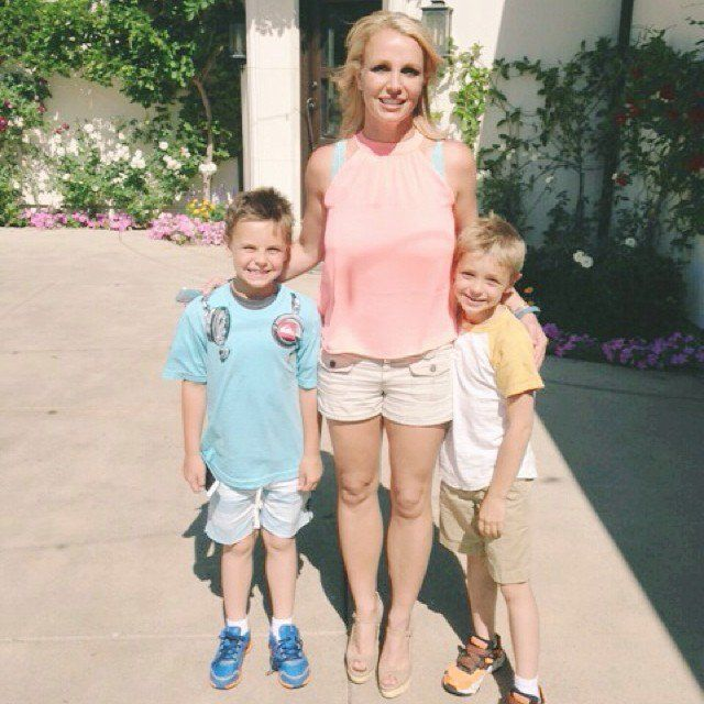 Pin for Later: Britney Spears's Sweet Family Snaps Will Make You Love Her Even More  The trio squinted in the sun when Summer 2014 arrived.