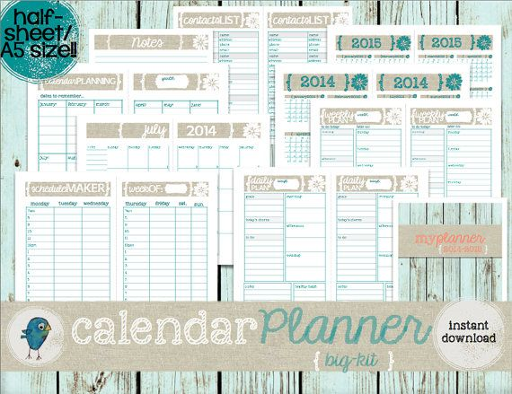 Calendar Half Sheet : Build your perfect planner with this calendar big