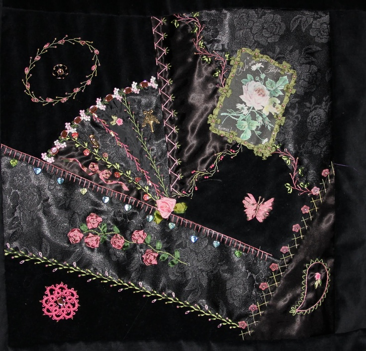 I ❤ crazy quilting . . . Black on Black Crazy Quilt- One of the crazy quilt lists I belong to has had a small discussion on black on black crazy quilts. I have been working on one for awhile, I think a couple of years now. It turned into a class for my students and in August we will be done with it! It consists of four 16 inch blocks and is surrounded by a 5 inch crazy quilt border.