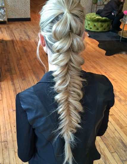 inside out pony, 4 times, elastics each time, finish with fishtale, pull out from bottom to stretch, soften it.