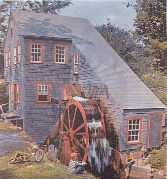 This Rowley, Massachusetts, mill race, was built in 1643. The steel water wheel here provides the A. Clayton Parker family with power for their home and business.