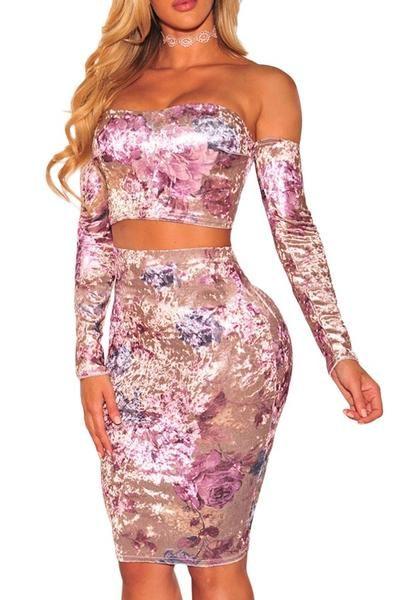 Velvet Floral Off Shoulder Bustier Two Piece Skirt Set #SkirtSet
