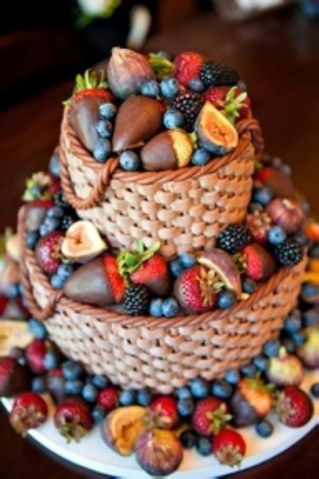 fresh fruit and chocolate weave wedding cake- this is amazing!! Love the fruit, but it's still a little traditional