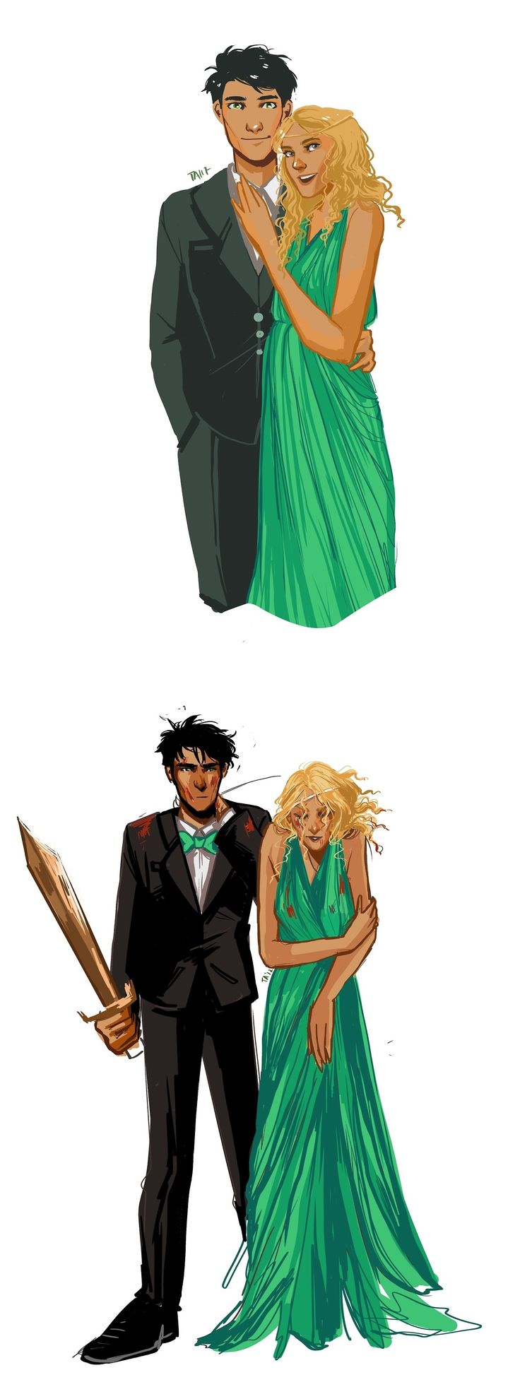 """Good thing your mum took a picture before we left""   Percabeth, unable to make it to prom without monster attacks and general chaos."
