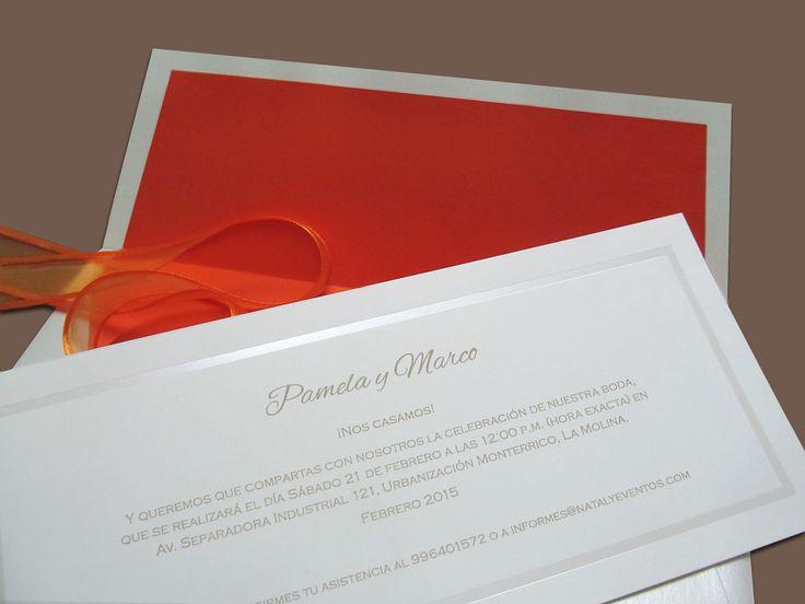 Parte de 25x11 cm. Elegante y vital. MALI Partes de matrimonio Lima-Perú