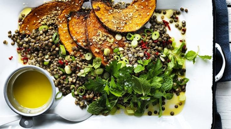 Warm lentil salad with pumpkin and chilli