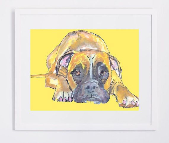 Boxer Dog Gift, Dog Painting - Signed Print from original Watercolor and acrylic boxer dog painting 8x10, 11x14,boxer dog art… #dogs #art