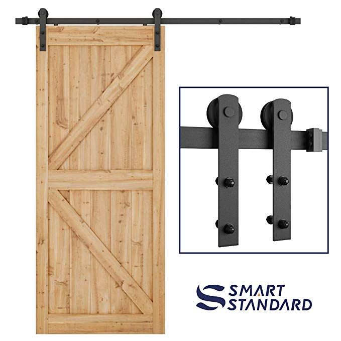 Smartstandard 6 6ft Heavy Duty Sturdy Sliding Barn Door Hardware Kit Smoothly And Quietly Easy Sliding Barn Door Hardware Door Hardware Sliding Door Hardware