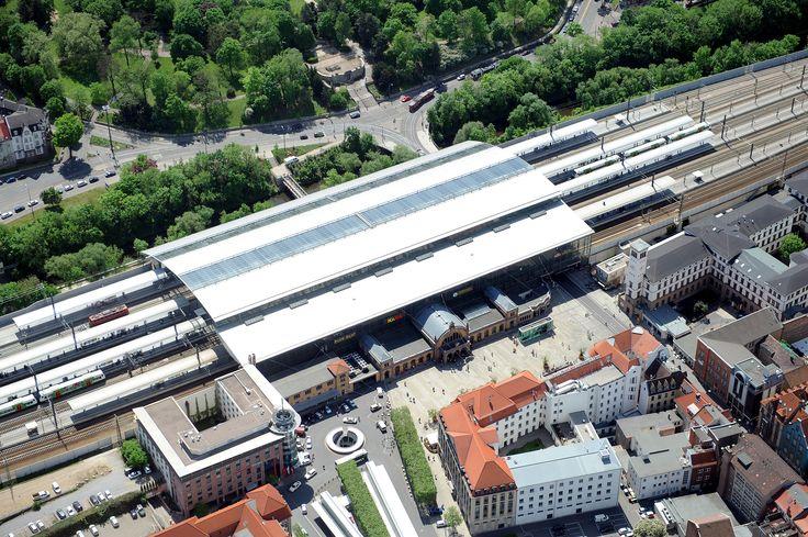 Der Hauptbahnhof Erfurt aus der Vogelperspektive. Foto: Marco Kneise