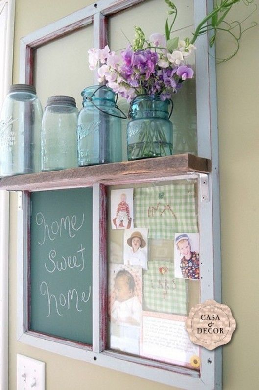 Repurposed window frame and antique jars -*** maybe a good idea for a white board in the kitchen.