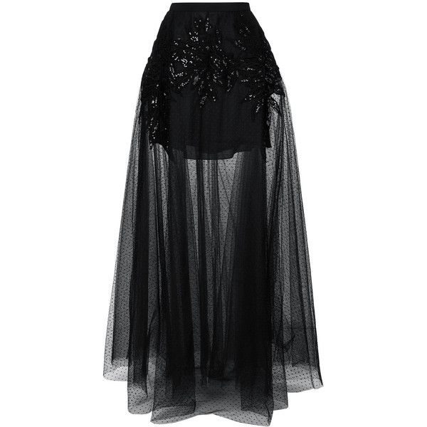 Elie Saab embellished sheer maxi skirt (51.135.465 IDR) ❤ liked on Polyvore featuring skirts, black, transparent maxi skirt, maxi skirts, long sheer skirt, floor length skirt and ankle length skirt