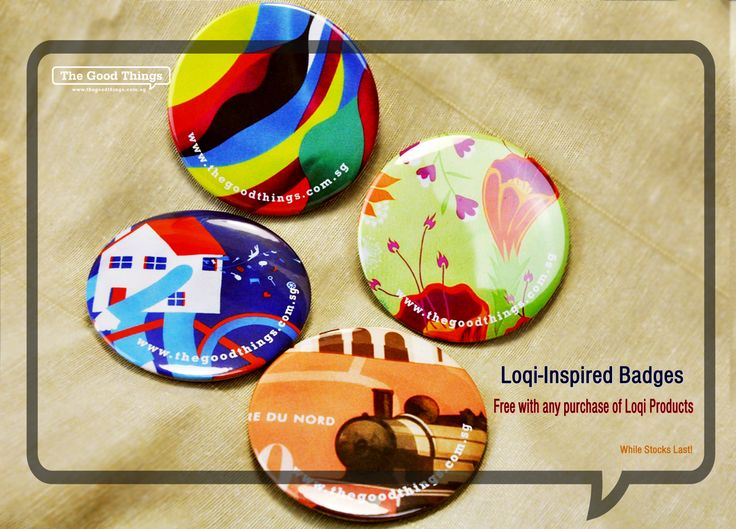 Kick starting the mid-year holiday season. The Good Things will be giving away LOQI-Inspired badges for any purchase of LOQI products. You can see our LOQI collection @ www.thegoodthings.com.sg Share the good things!  #tgt #thegoodthings #loqi #badge