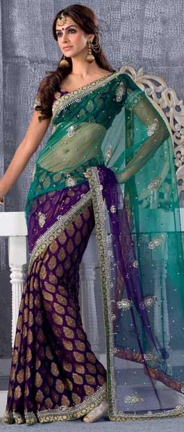 Turquoise Green and Purple Net / Faux Georgette Saree With Blouse    Itemcode: SBR446    http://www.utsavfashion.com/store/sarees-large.aspx?icode=SBR446
