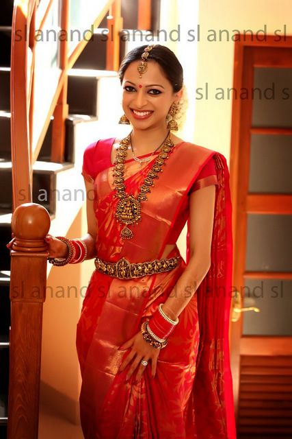 Beautiful South Indian Bride, #Saree, Jewelry #Desi from http://www.PeachesAndBlush.com/
