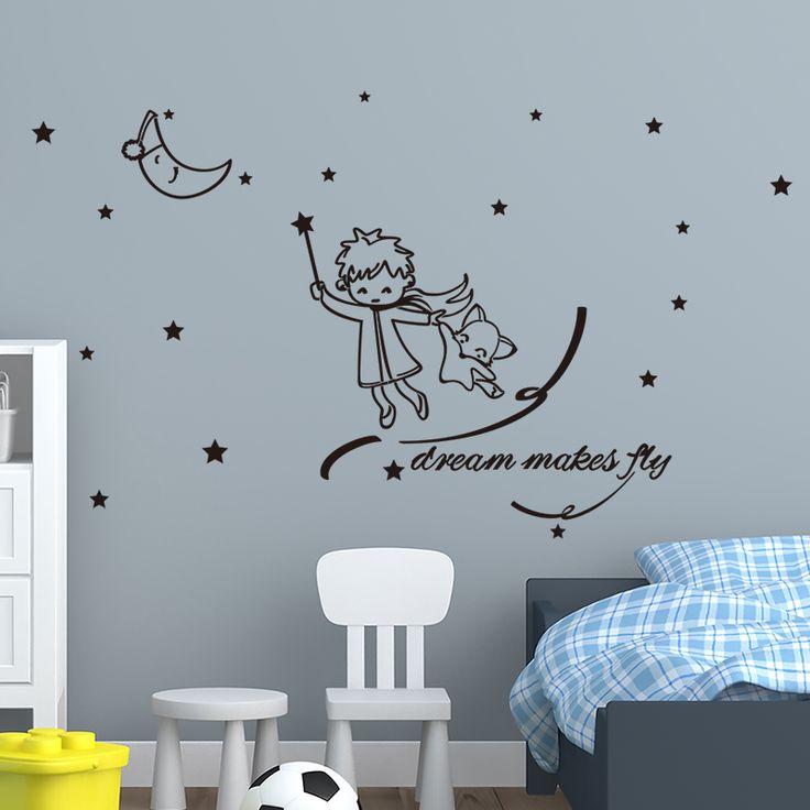 Stunning  SHIJUEHEZI Custom Magician Boy Moon Wall Sticker Vinyl Handmade Mural Art for Kids Room Kindergarten Wall Decals High Quality art for kids China moon wall