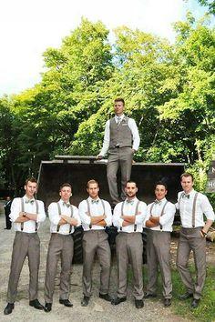 Country wedding groomsmen // suspenders, grey suit, bowtie, rustic wedding