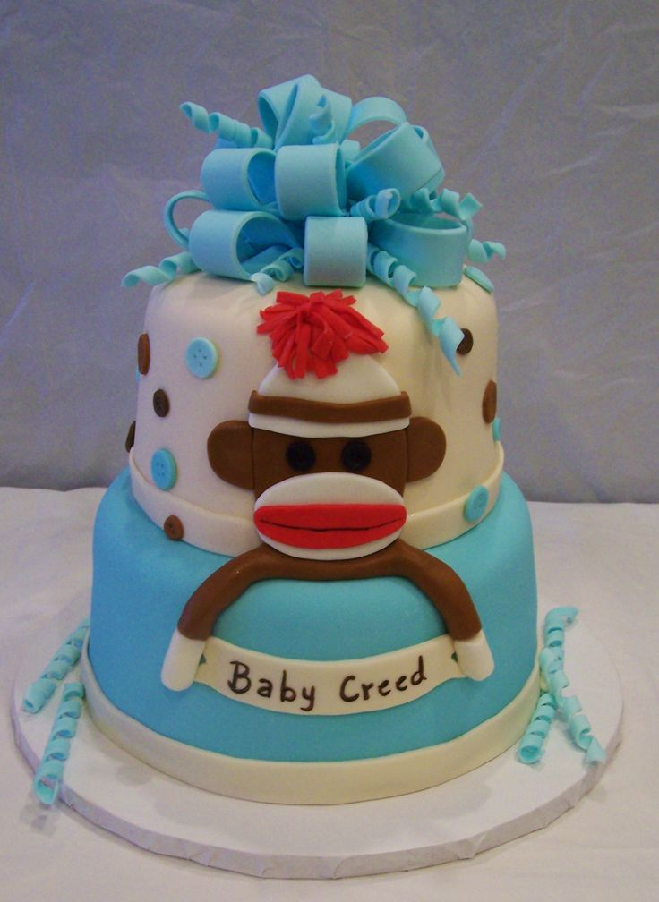 sock monkey baby shower cake the only hat guaranteed to