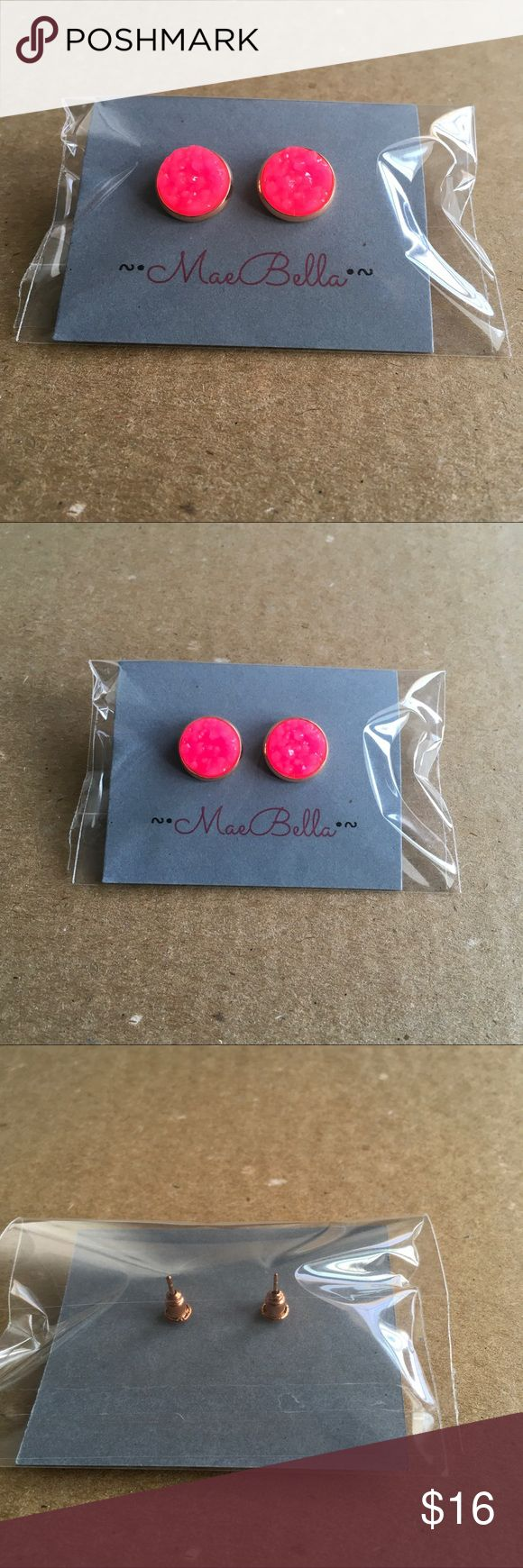 Pink And Rose Gold Druzy Earrings Size: 12mm (approx Half And Inch)