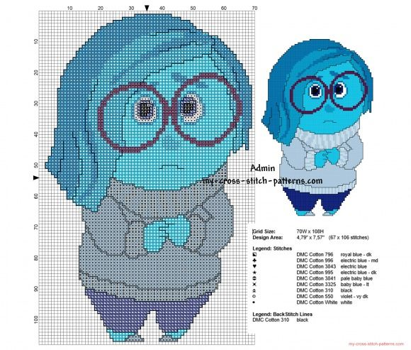 Sadness Disney Inside Out free cross stitch pattern