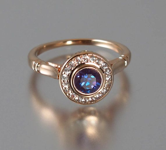 THE SECRET DELIGHT 14k Rose Gold Alexandrite Engagement Ring With Diamond Halo byWingedLion ....