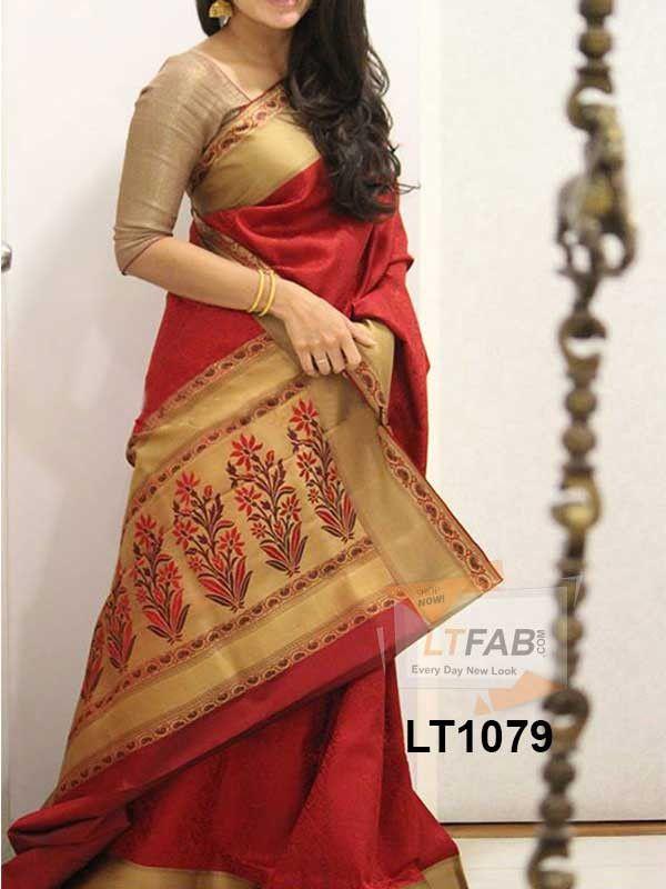 Poly Silk Red Saree Lt1079 Saree Designs Soft Silk Sarees Saree