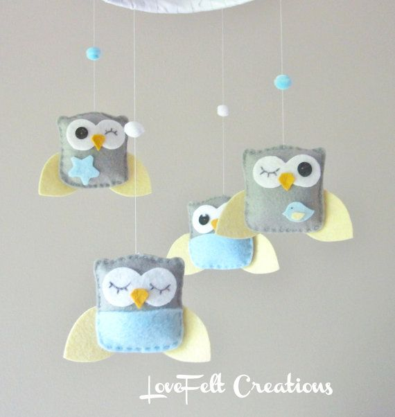 Baby Crib Mobile - Custom Mobile - Baby Boy Mobile - Owl Mobile - You can pick your colors :). $70.00, via Etsy.