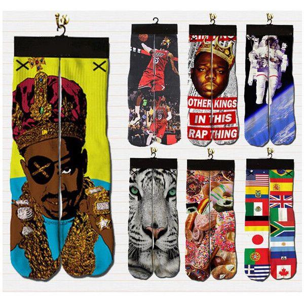 t emoji/2pac/weed/marilyn monroe/Biggie Smalls socks funny graphic... ❤ liked on Polyvore featuring intimates, hosiery, socks, cotton socks, long sports socks, knee-high socks, long sport socks and graphic socks