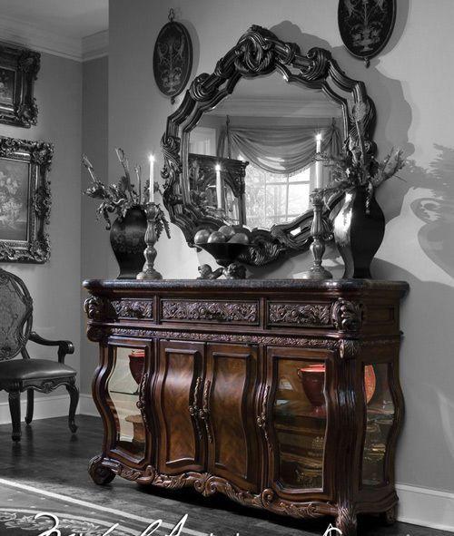 Deep English Tea Baroque Buffet Sideboard Server With