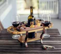 Wine Bottle Caddy Single Bottle 2 Glass Holders with Food Serving Tray