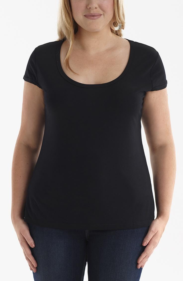 Scoop neck Tee/Black Style No: T1251 Viscose elastane scoop neck cap sleeve tee. #fashion #fashion #plussize #dreamdivafiles #dreamdiva