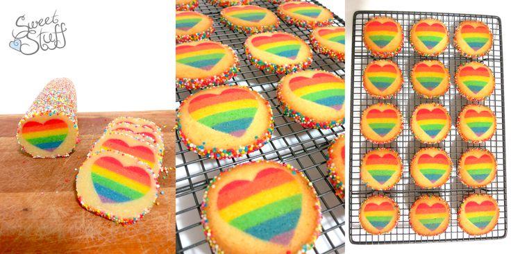 Rainbow suger cookies   #rainbowcookies #sweetstuff #cookies #rainbowheart