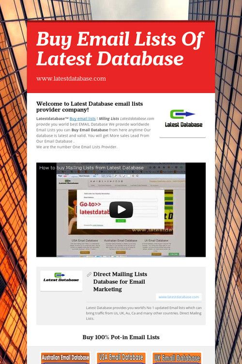 Buy Email Lists Of Latest Databasehttps://www.smore.com/0t8fj-buy-email-lists-of-latest-database