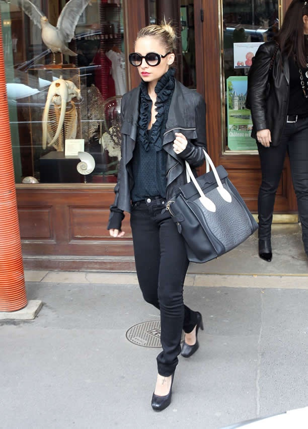 Nicole Richie . all black outfit perfection and the CeLiNe!!! beyond.