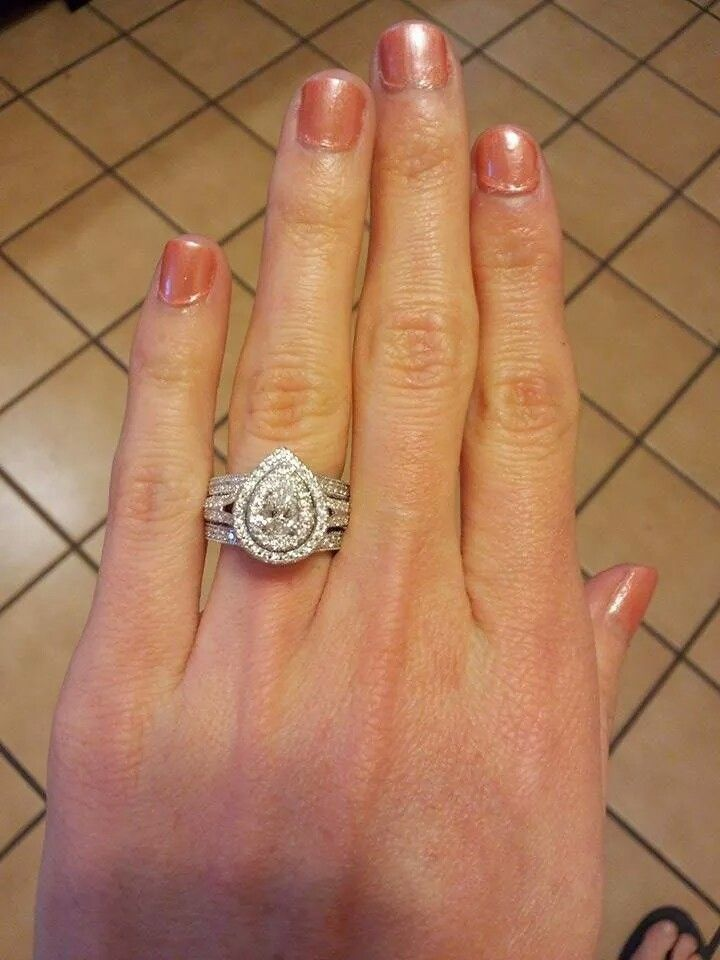 Yes this is My Neil Lane double halo pear shaped e-ring with wrap diamond wedding band! I love my wedding set so much! #wedding #ring #NeilLane