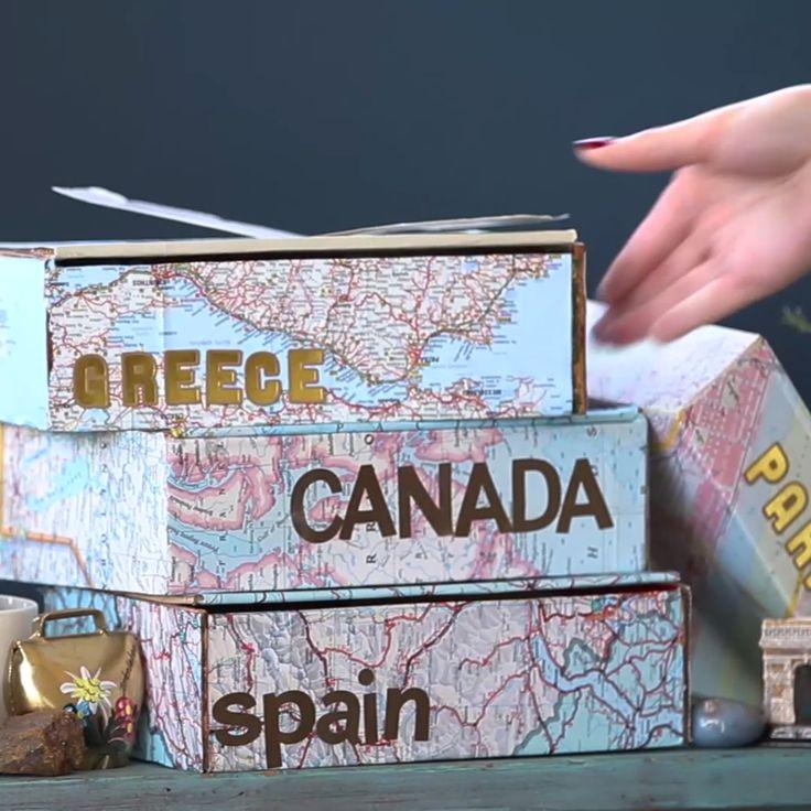 DIY Ways To Make Traveling Suck Less DIY Map Keepsake Box