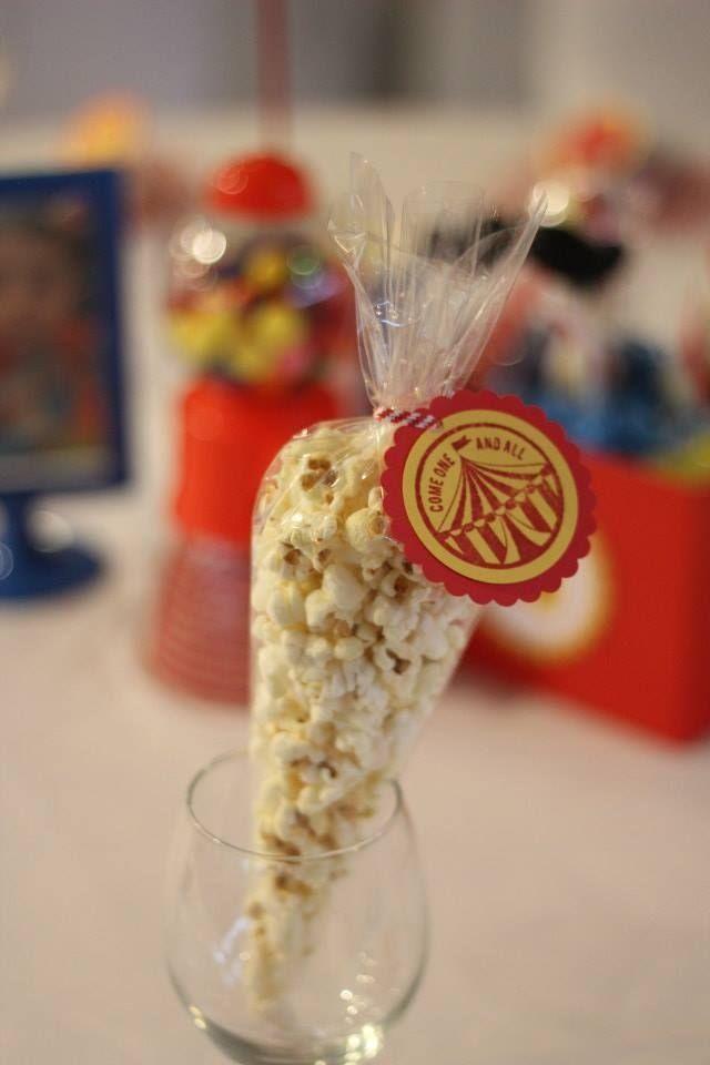boy's circus first birthday party popcorn