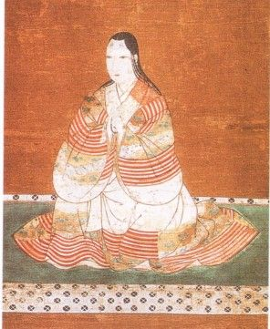 The Kosode - Oinu (bottom top right) has draped her striped uchikake low on her shoulders, the inner kosode layers peeping out above.