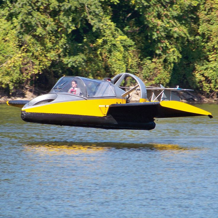 """Flying Hovercraft $190,000    This is the hovercraft that glides over land and water yet also soars in the air up to 70 mph with the aid of integrated wings. A 130-hp twin-cylinder, liquid-cooled gasoline engine -- turbocharged and fuel-injected -- drives its 60"""" wood/carbon composite thrust propeller while a 1,100-rpm 34"""" lift fan inflates its durable vinyl-coated nylon skirt for hovering above the ground."""