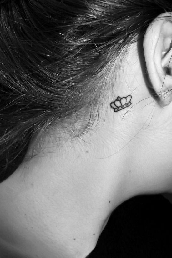 Small Queen Crown Tattoo Behind Ear