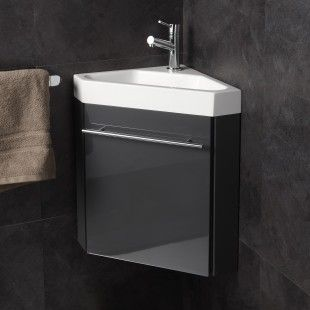 Pack meuble lave-mains d'angle gris anthracite brillant